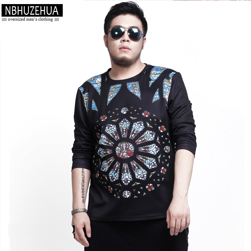 Big Guy Europe Style Printed Oversized T Shirt Men 2017 Spring Autumn Camisetas Hombre 6xl 7xl