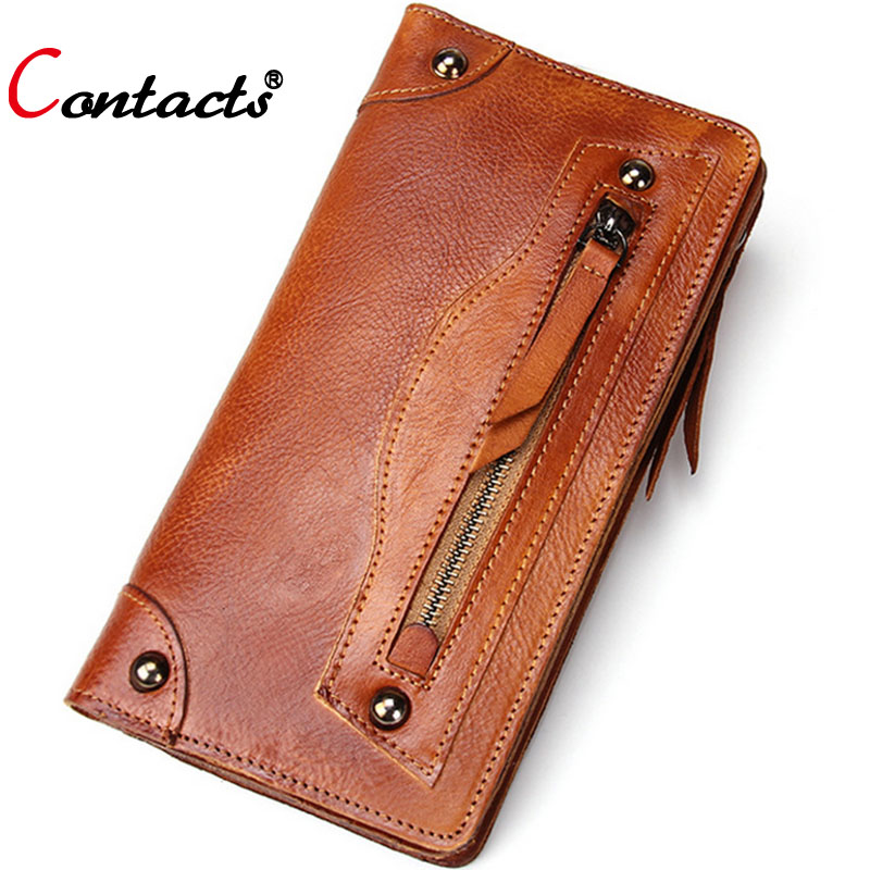 CONTACTS Genuine Leather Wallet Men Wallets Purse ID Card Holder Famous Brand Men Clutch Bag Travel Long Walet Dollar Price<br><br>Aliexpress