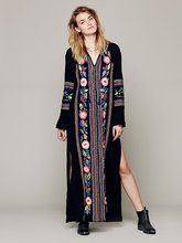 Buy 2017 Spring Summer Dress Casual Bohemian Dress Black Long Sleeve Embroidery Dress Loose Maxi Long Dress Women Clothing Vestidos for $33.15 in AliExpress store