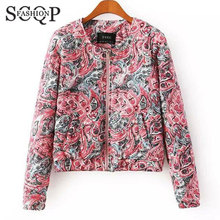 New 2015 European Style Floral Printed Ladies Jackets Spring Winter Women Coats And Jackets Long Sleeve Cotton Women's Coat 6332