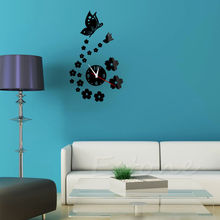 New Arrival DIY Modern Design 3D Acrylic Mirror Style Butterfly Wall Clock Sticker #K400Y#