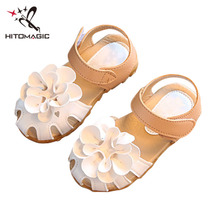 HITOMAGIC  Sandal Girls Leather With Flowers Out-cuts Children's Footwear For Baby Girl Summer Sandals Kids Shoe Children Shoes