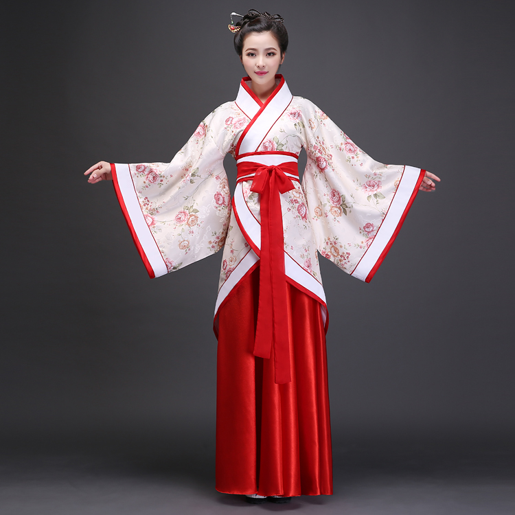 2017 autumn Ancient Chinese Costume Women Clothes Robes Traditional Beautiful Hanfu Dance Costumes Sobretudo Feminino Dress(China)