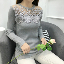 Autumn Winter Casual Sweater 2016 fashion Sexy lace Rhinestone knittd Sweater long-sleeved Pullovers Knitted shirt female