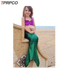 TPRPCO Halloween Girl Mermaid Tail Costume Princess Ariel Swimwear Bikini Soft Children Kid Girl Beach Dress E32