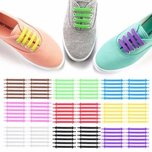 9 Colors Shoelaces Creative Design Unisex Women Men Athletic Running No Tie Shoelaces Elastic Silicone Shoe Laces Women Sneaker(China)
