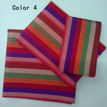 Colorful style stripe african aso oke headtie nigeria gele fabric high quality for women&men head wearASK-016 (3 set/lot)(China)