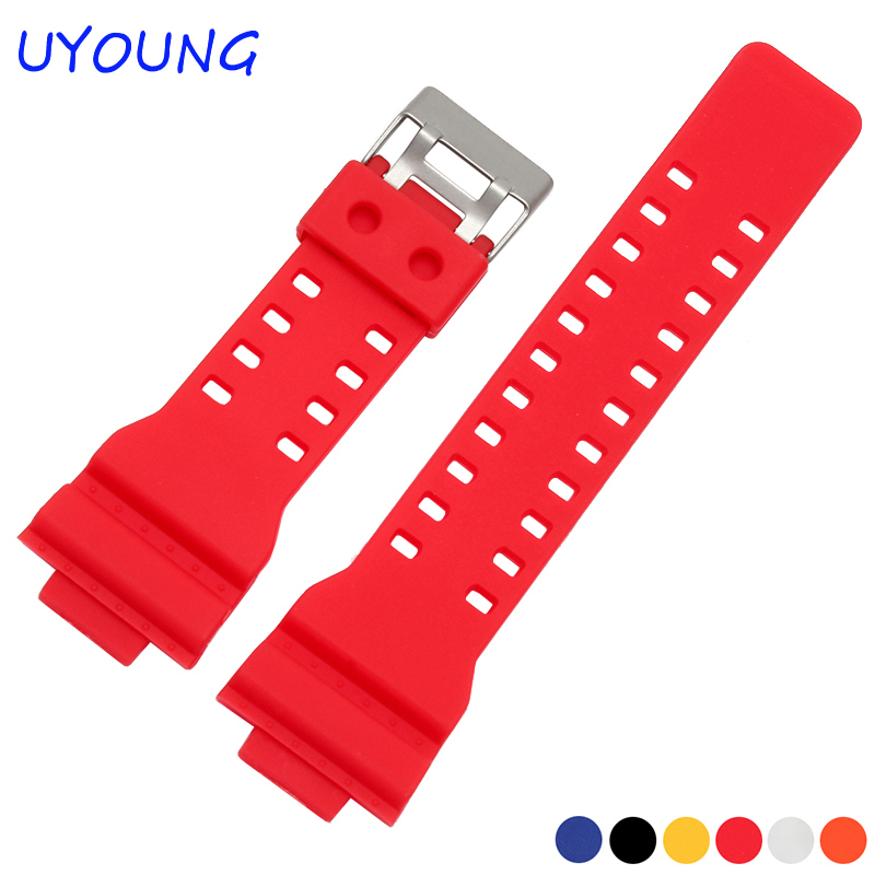 New replacement Matte Silicone stainless steel clasp for CASIO GA-100/GA-300/GA-110/GA-120/G-8900 Driving Sport watch<br><br>Aliexpress