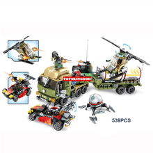 Hot modern military Crude oil transportation heavy truck building block army figures helicopter cars bricks toys for boys gifts