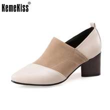Size 32-45 Ladies High Heel Shoes Women Classsic Slip-on Pointed Toe Square Heel Pumps Simple Casual Office Zapatillas Mujer