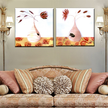 Modular Oil Painting Frameless Canvas Print Art Home Decoration Charm Still Life Flower In Vase Poster Picture for Wall 2 Panel(China)