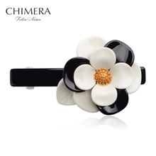 Fashion Flower Hairpin Hair Clips for Women Luxury France Acetate Grips Hair Barrette Ponytail Holder Hairclip 3150143(China)