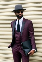 Latest Coat Pant Designs Burgundy  Formal Men Suit Casual Style Tuxedo 3 Pieces Wedding Suits Blazer 2017(Jacket+Pants+Vest+Tie)