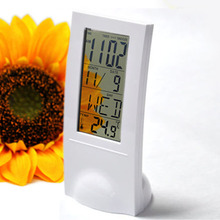 2015 brand 1pc new Transparent LCD Digital Lndoor Temperature Calendar Gauge Clock