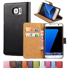 For Samsung Galaxy S7 Edge G9350 Genuine Leather Case For Samsung Galaxy S7 G9300 Phone Cover Wallet Card Stand Bag Coque