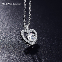 ANFANSI Romantic Fashion  Women Necklace Jewelry Silver Color AAA  Zircon Heart Pendant Necklace For  Wedding CNL0044-B
