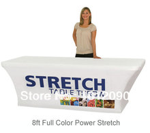 Stretch Fabric Table Cover Fits 8ft Table Printed Full Color Dye Sub  Tablecloth