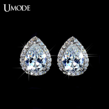 UMODE Fshion Water Drop Design Top Quality Earrings Cubic Zircon Stud Earring for Women Boucle D'oreille Pendientes Mujer UE0026(China)