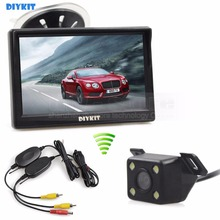 DIYKIT 5 inch LCD Display Rear View Car Monitor + LED Color Night Vision Car Camera Wireless Parking Security System Kit