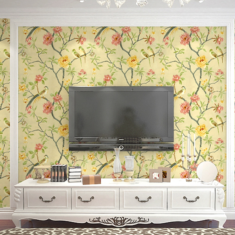 beibehang Birds trees branch Embossed Textured non-woven wallpaper 3D flowery motif background home decor 3D wallpaper mural<br>