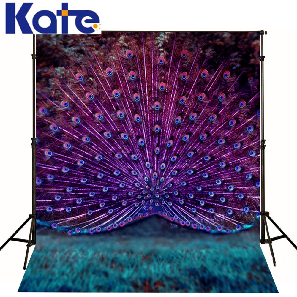 Kate studio backdrop baby 6.5x10ft(200x300cm) Peacock beautiful peacock tail thin fabric cloth printed photography background<br><br>Aliexpress