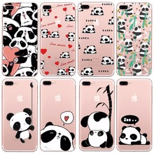 RENARSOPH Cute Cartoon Animal Bear Soft TPU Back Cover China Panda Phone Case For Iphone 4 4S 5 5S SE 6 Plus 6S Plus 7 Plus Capa