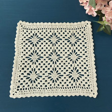 4 Pcs/lot 25 cm Beige Square Placemats Hand Crochet Hook Cost Hollow Dining Tables Place Mats Coasters Home Decorative