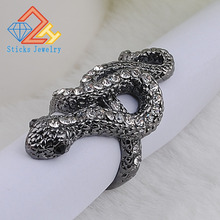 Super Deals Charm Gun Black and Pave Austrian Crystal 3D Cobra Snake Engagement Rings Fashion Jewelry