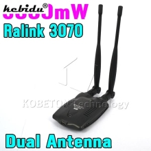 kebidu 3000mW Wireless Wifi Adapter Receiver + Long Range Dual Wi fi Antenna Ralink 3070 Free Internet for Desktop PC(China)