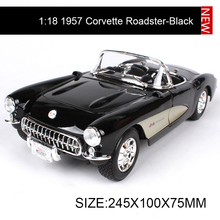 1:18 diecast Car Chevy 1957 Corvette Roadster Muscle Cars 1:18 Alloy Car Metal Vehicle Collectible Models toys For Gift(China)