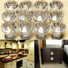 12pcs/bag Acrylic Zinc Alloy Crystal Glass Door Knobs With Screws Drawer  Cabinet Furniture Kitchen Handle