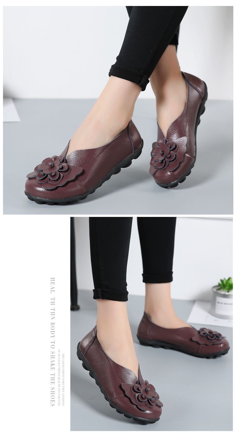 Women Real Leather Shoes Flower Moccasins Mother Loafers Soft Leisure Flats Casual Female Driving Ballet Footwear Women Shoes 23