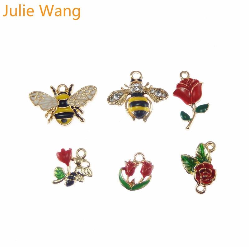 5pcs Enamel Honeybee Charms Pendants For DIY Necklace Bracelet Jewelry Craft