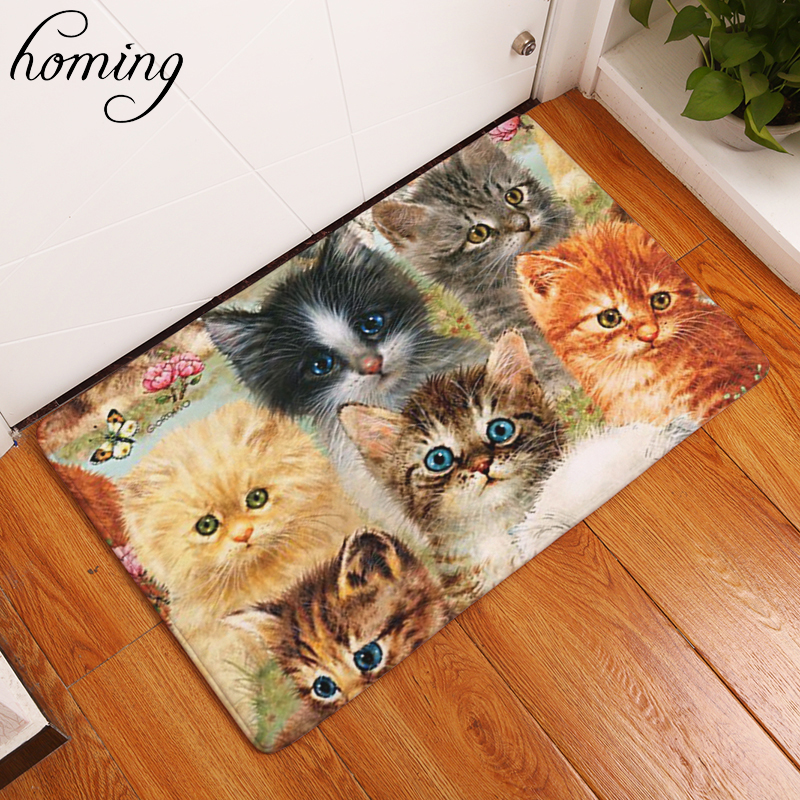 Homing in Front of Entrance Door Mats Colorfast Cute Funny Kitten Cartoon Cats Carpets Kids Bedroom Bedside Foot Pads Decor(China)