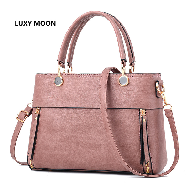 Luxy Moon New Famous Women Leather Handbags OL Causal Totes sac a main Pink Elegant Fashion Simple Designer PU Crossbody Bag A21<br>