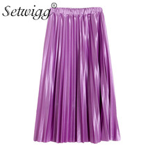 SETWIGG Spring New Fashion Glossy Long Pleated Skirts  Elastic Waisted Candy Satin A-line Pleated Louguette Skirts SG523