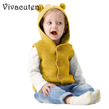 Baby Boy Vest Cotton Sweaters Cartoon Bear Newborn Girls Cardigans Knit Infant Knitwear Coats Hooded Sleeveless Kids Jackets