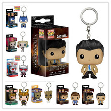 NEW Genuine FUNKO POP 4cm Supernatural Castiel Keychain action figure Bobble Head Q Edition new box for Car Decoration