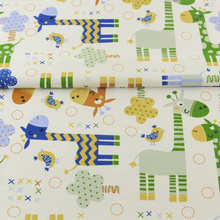 News Green and Blue Animals Designs Cotton Fabric Quilting Patchwork Twill Cloth Tecido Decoration Sewing Bedding Scrapbooking