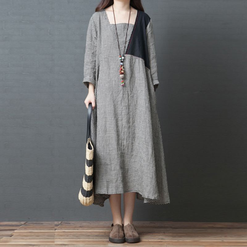 cc42c6b2885e Package include 1 Dress Product Detail  -3 4 Sleeve -Grid Designs -With  Pockets -Casual Loose -Plus Size -Simple And Comfortable