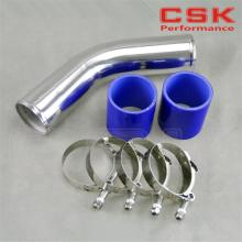 "70mm 2.75"" 45 degree Aluminum Turbo Intercooler Pipe Piping+silicon hose BLUE+ t bolt clamps"