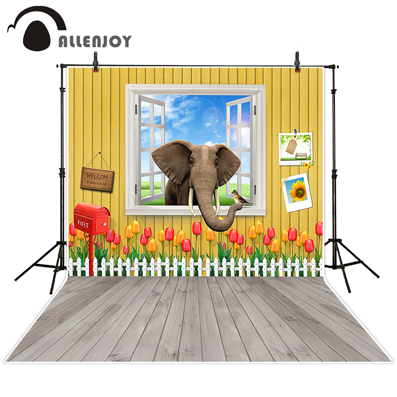 Allenjoy photographic background Elephant grass windows mailbox backdrops newborn christmas photo studio 10ft*20ft<br><br>Aliexpress