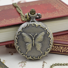 30pcs/lot Free Shipping Quartz Pocket Watch High Quality Butterfly Pocket Watch Necklace Gift Watch Wholesale(China)
