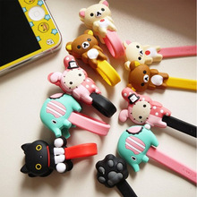10pcs/lot Lovely Black Cat Rabbit Cartoon Cable Winder Headphone Earphone Cable Wire Organizer Cord Holder For iphone samsung(China)