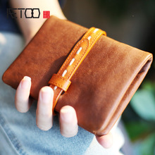 AETOO Cowboy retro simple short paragraph two fold small wallet can put the driver's license male and female young soft leather(China)