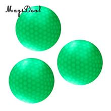 MagiDeal 3 Pieces Glow In Dark Green LED Light Up Golf Ball Official Size Weight - Durable and Flexible Double Layer Golf Balls(China)