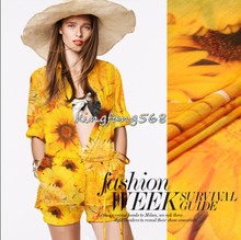 High quality 30% pure natural mulberry silk 70% linen silk linen clothing fabric yellow sunflower shirts dresses 1m Y102