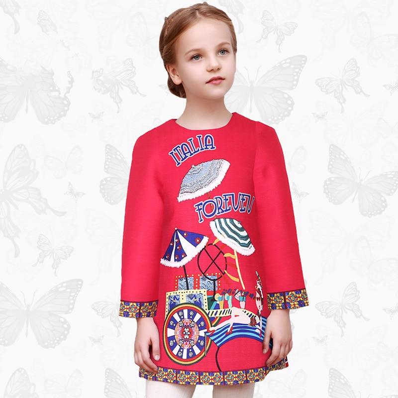 Toddler Girls Dresses Children Clothing 2017 Brand Princess Dress for Girls Clothes Fish Print Kids Beading Dress 1 9<br>