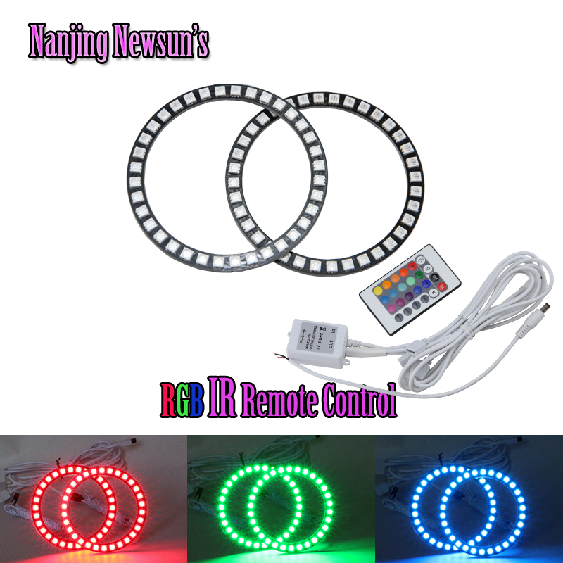 Super bright 2x 72mm 75mm 80mm 90mm 100mm 120mm LED RGB Car Angel Eyes Light Headlight colorful Halo Ring with Remote Control<br><br>Aliexpress