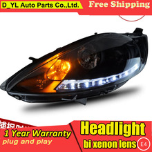 D_YL Car Styling for Ford Fiesta Headlights 2009-2012 Fiesta LED Headlight DRL Lens Double Beam H7 HID Xenon bi xenon lens